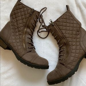 Brown quilted combat boots